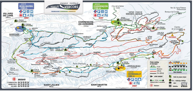 Correncon en Vercors - Plan des pistes de ski de fond