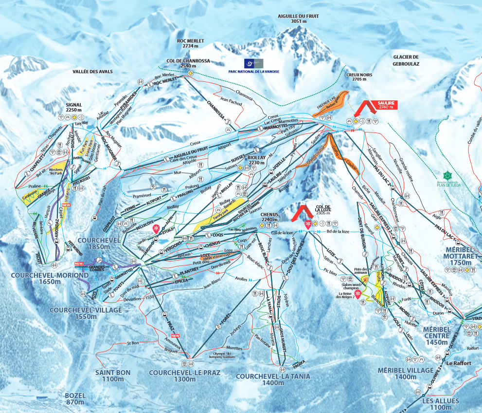 Courchevel - Plan des pistes de ski