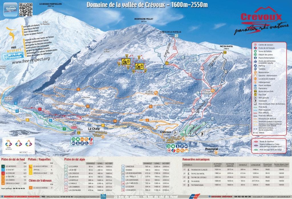 Crevoux - Plan des pistes de ski