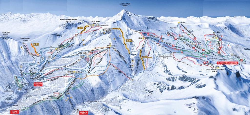 Doucy - Plan des pistes de ski