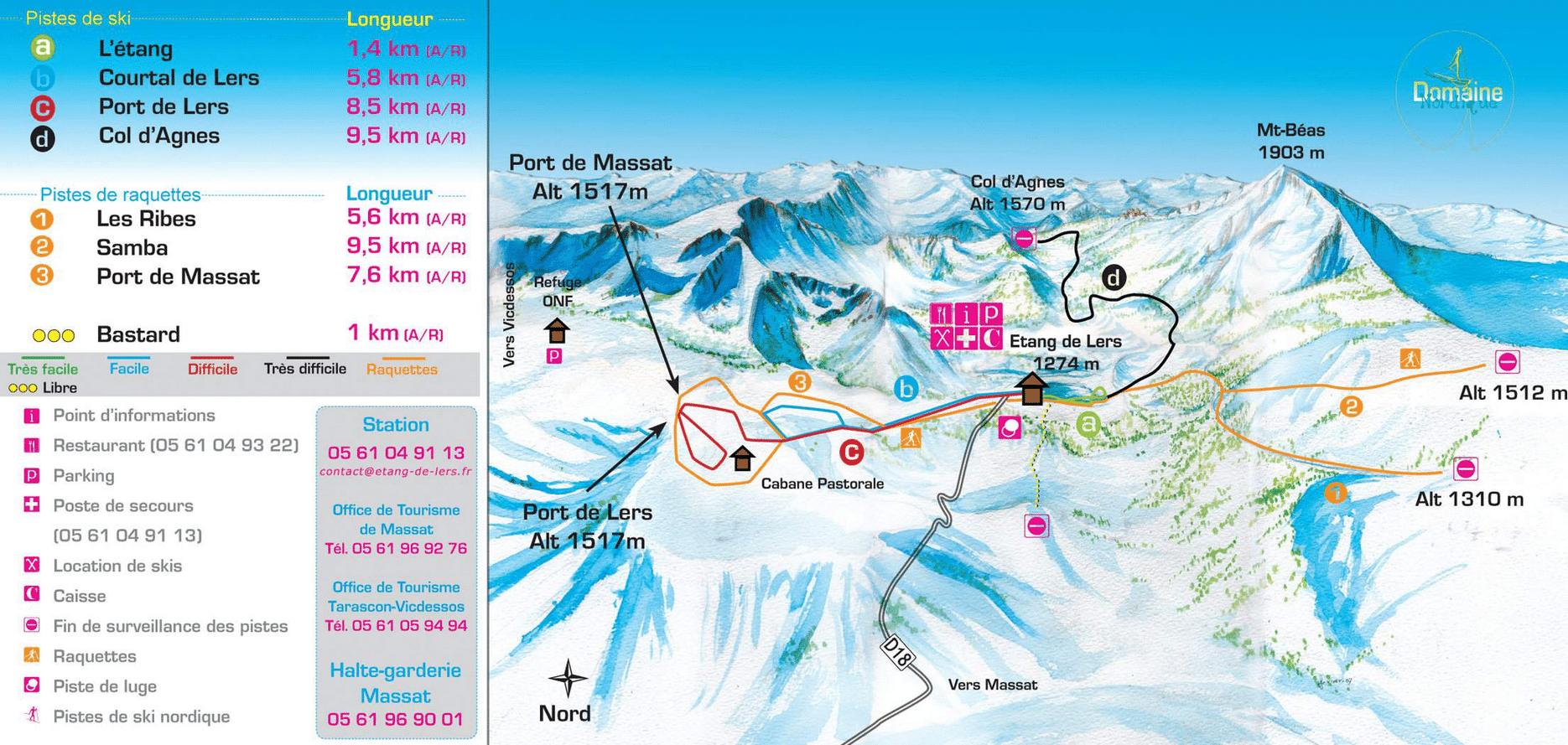 Etang de Lers - Plan des pistes de ski de fond