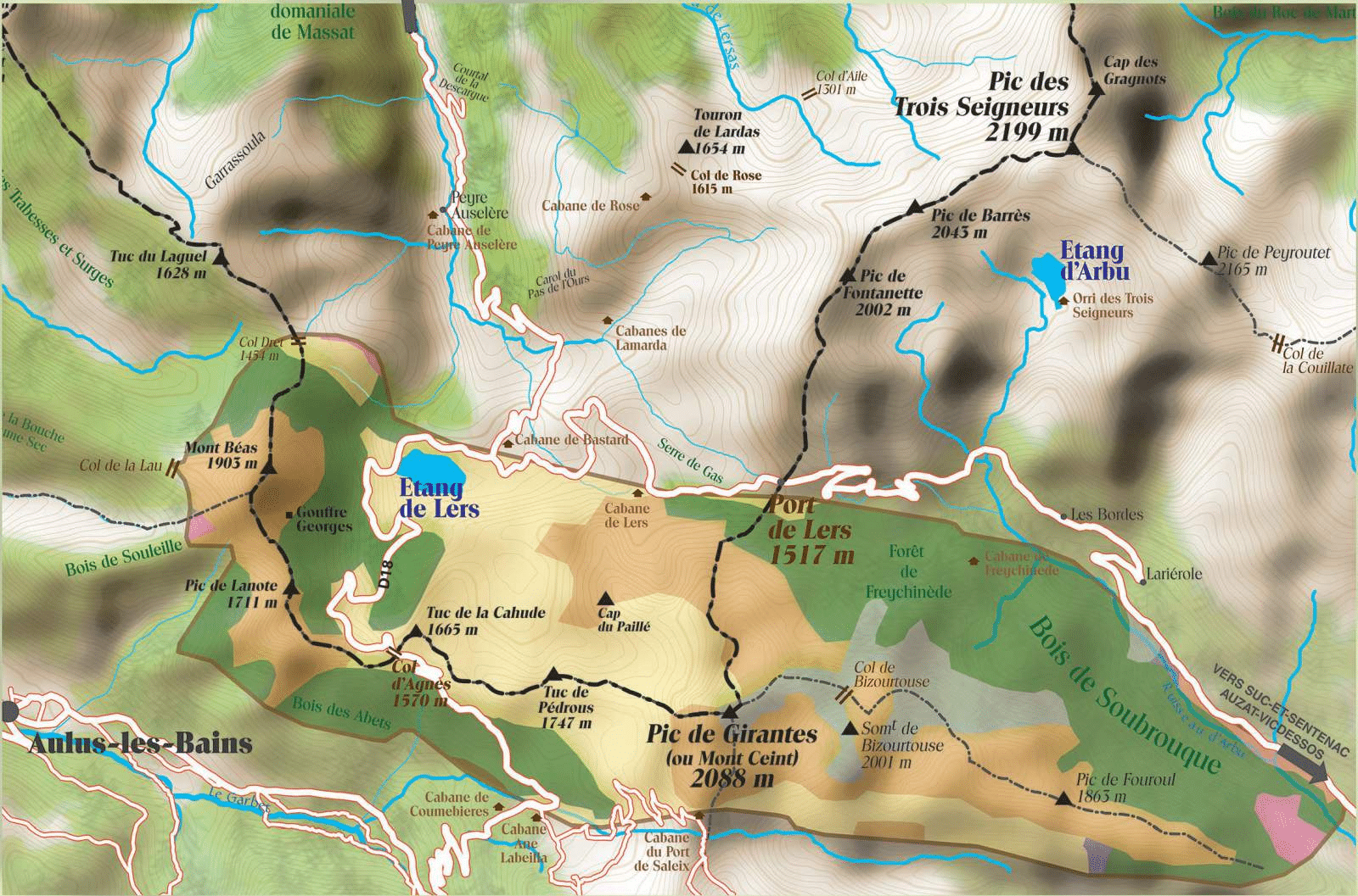 Plan de l'étang de Lers