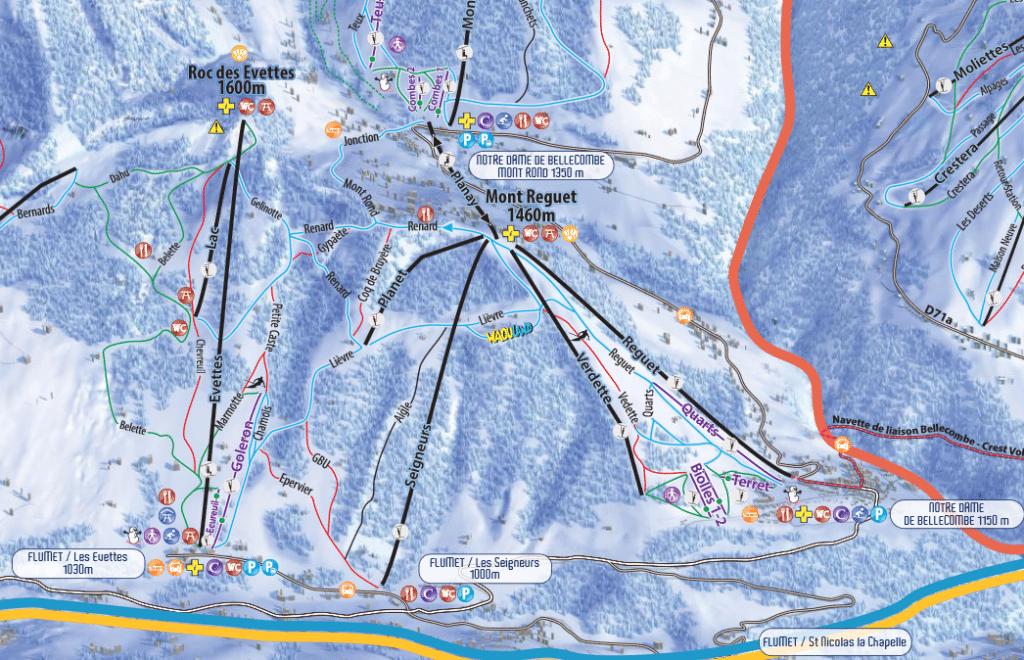 Flumet - Plan des pistes de ski