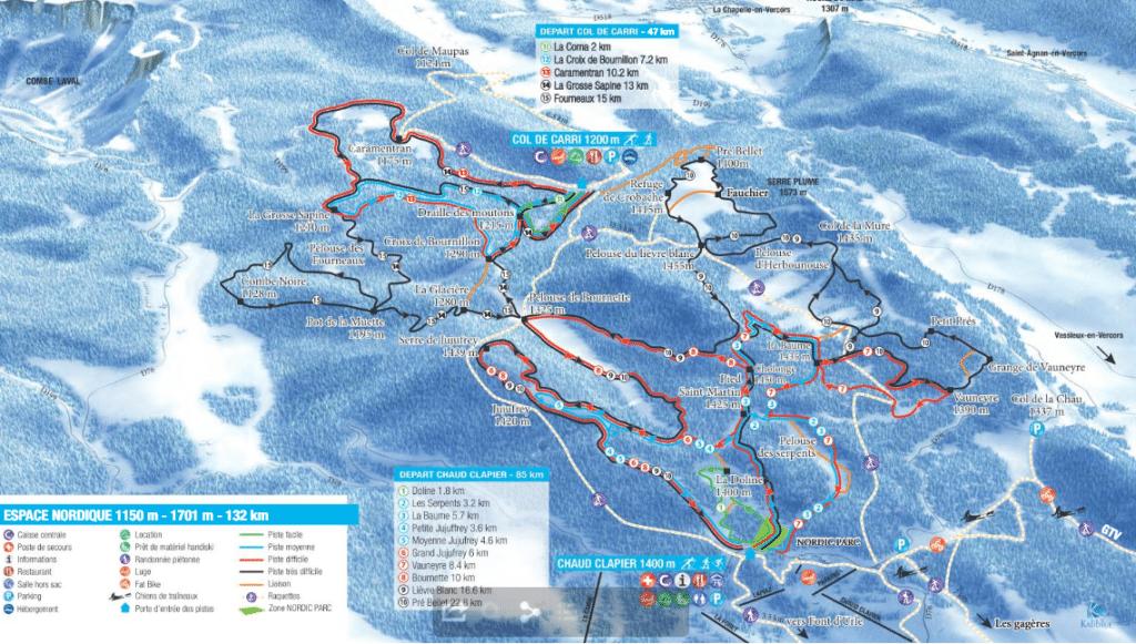 fond durle plan des pistes de ski de fond