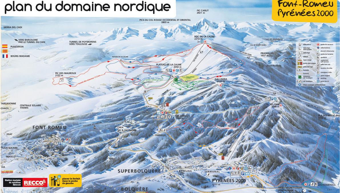 Fond Romeu - Plan des pistes de ski de fond