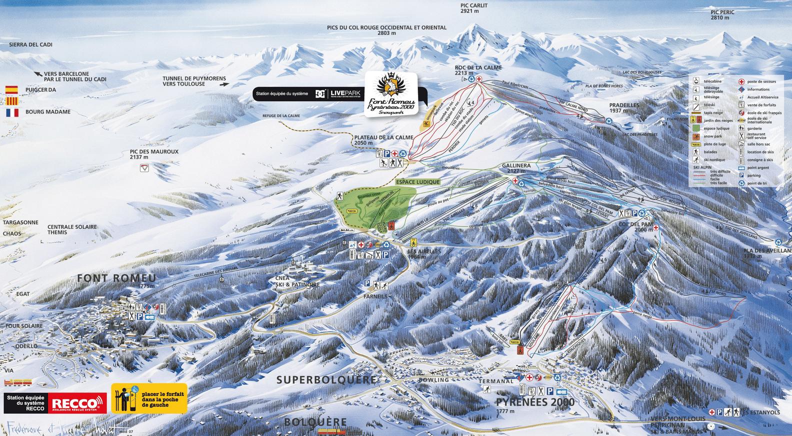 Fond Romeu - Plan des pistes de ski alpin