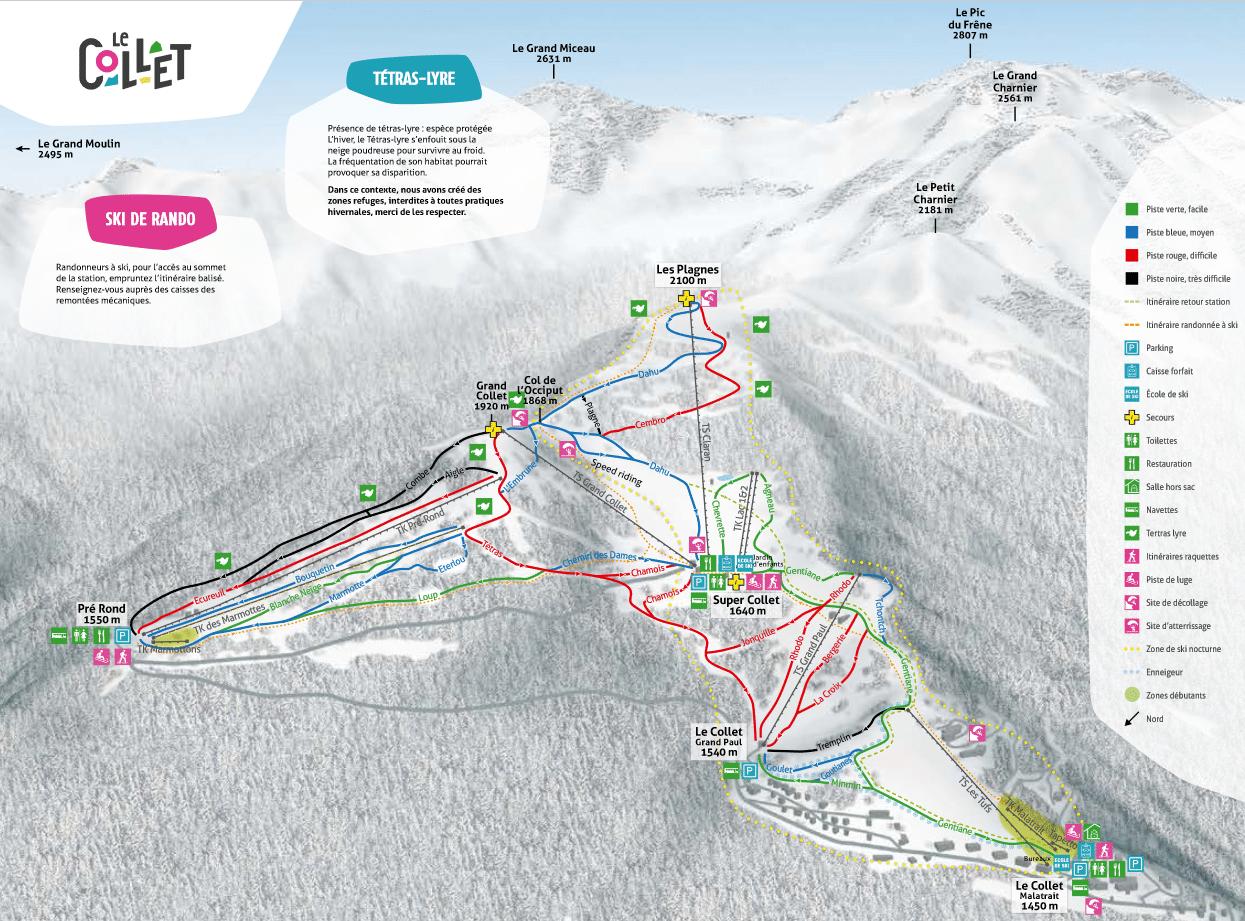 le collet d'allevard - Plan des pistes de ski
