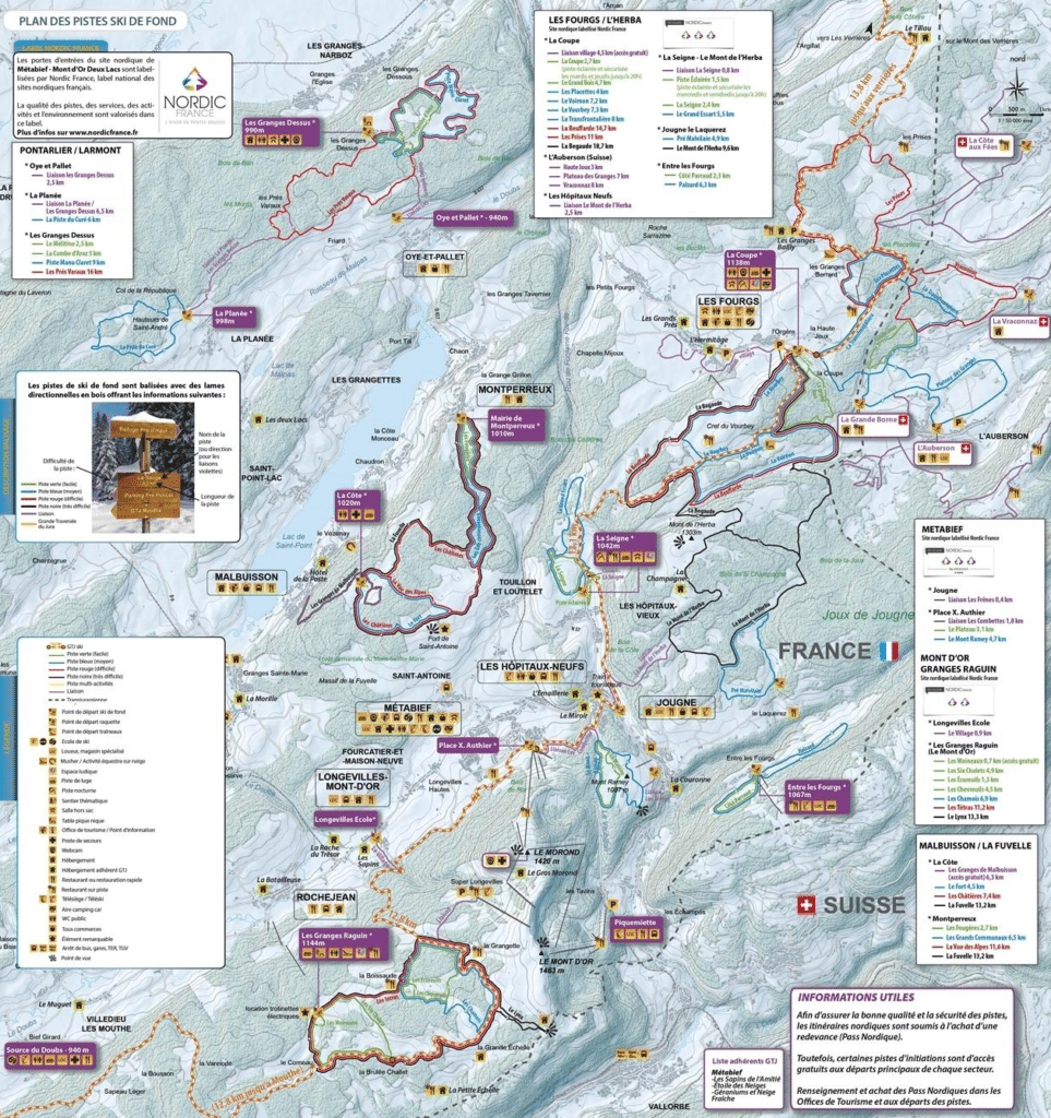 les Fourgs - Plan des pistes de ski de fond