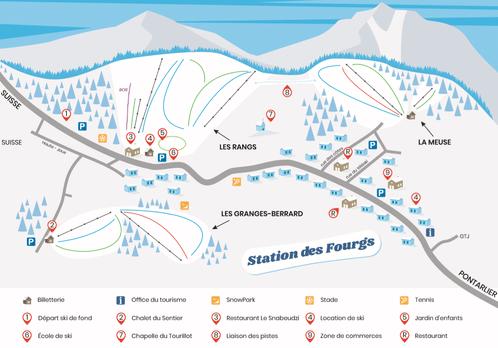 les Fourgs - Plan des pistes de ski