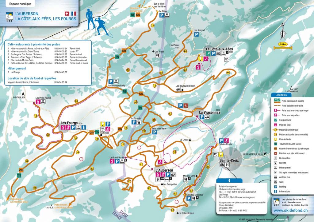 les Fourgs - Plan du domaine nordique