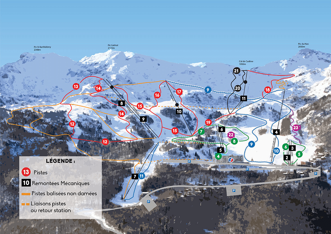 les Monts d'Olmes - Plan des pistes de ski