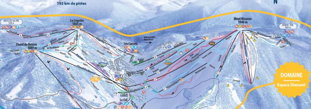 les saisies plan des pistes de ski