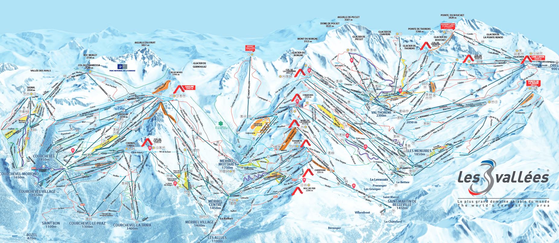 les trois vallées plan des pistes