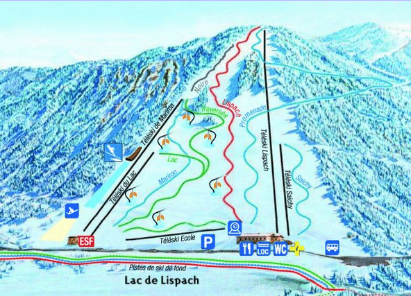 lispach - Plan des pistes de ski alpin