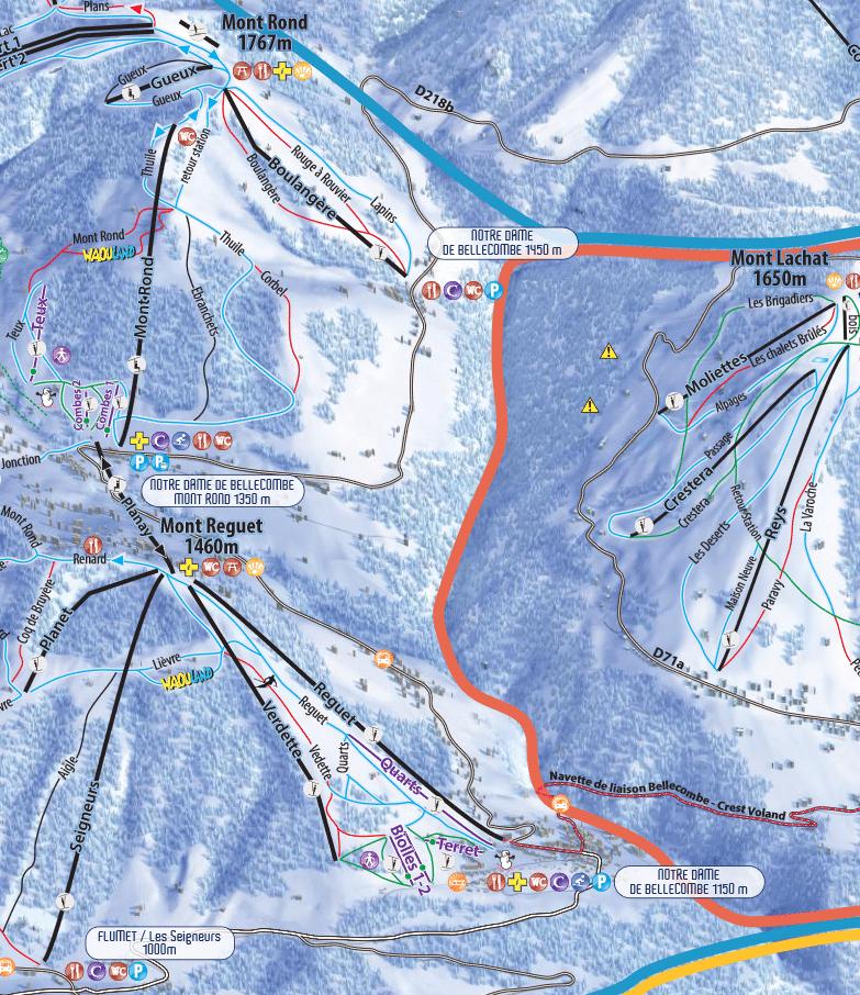 Notre Dame de Bellecombe - Plan des pistes de ski
