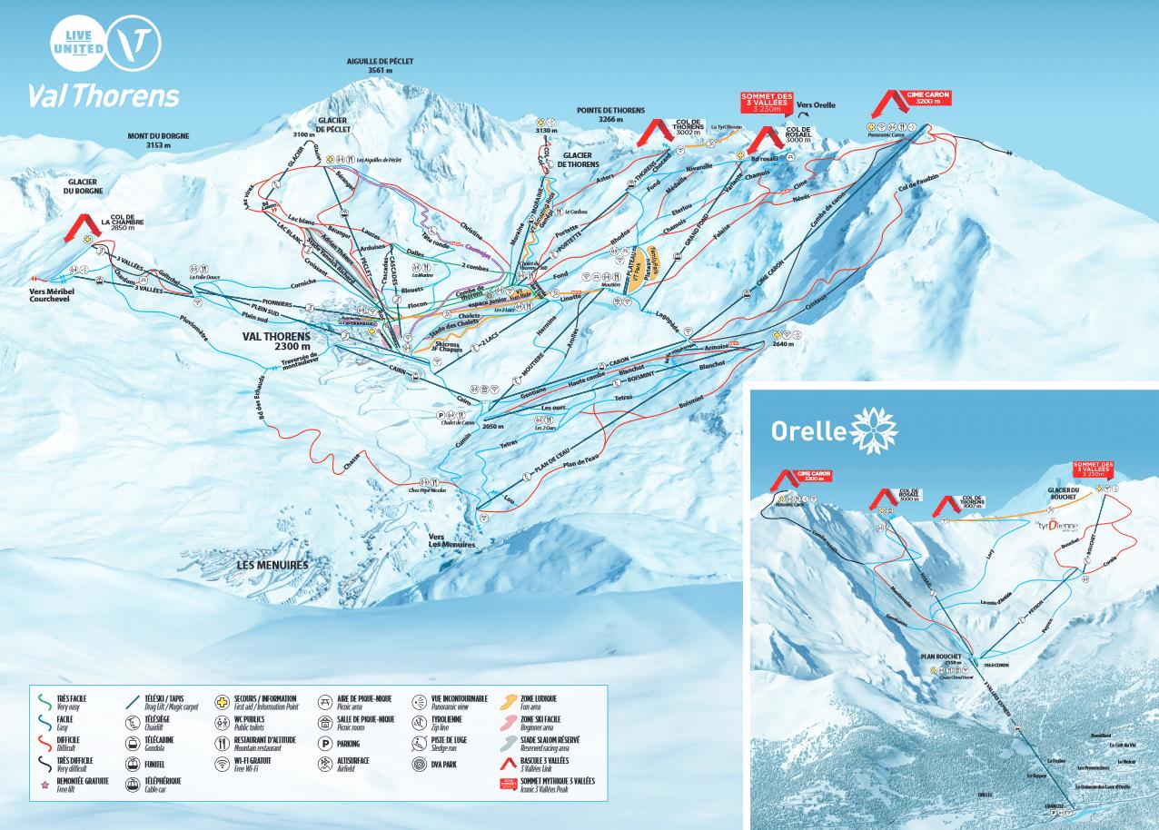 Orelle et Val Thorens - Plan des pistes de ski