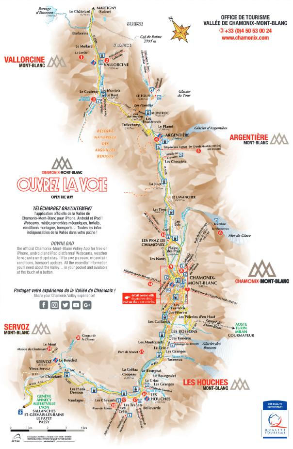 plan de la vallée de chamonix
