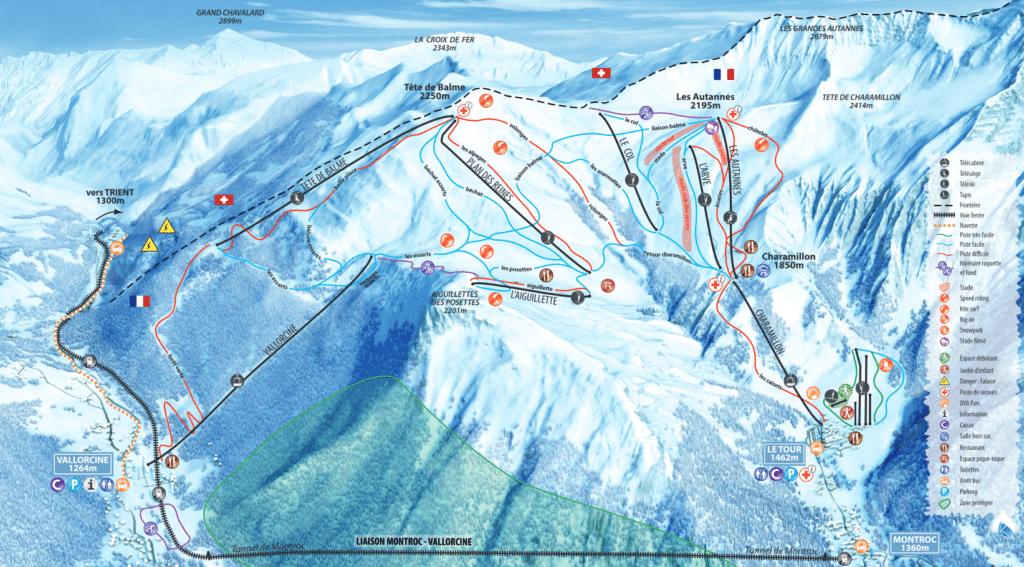 plan des piste chamonix vallorcine montroc