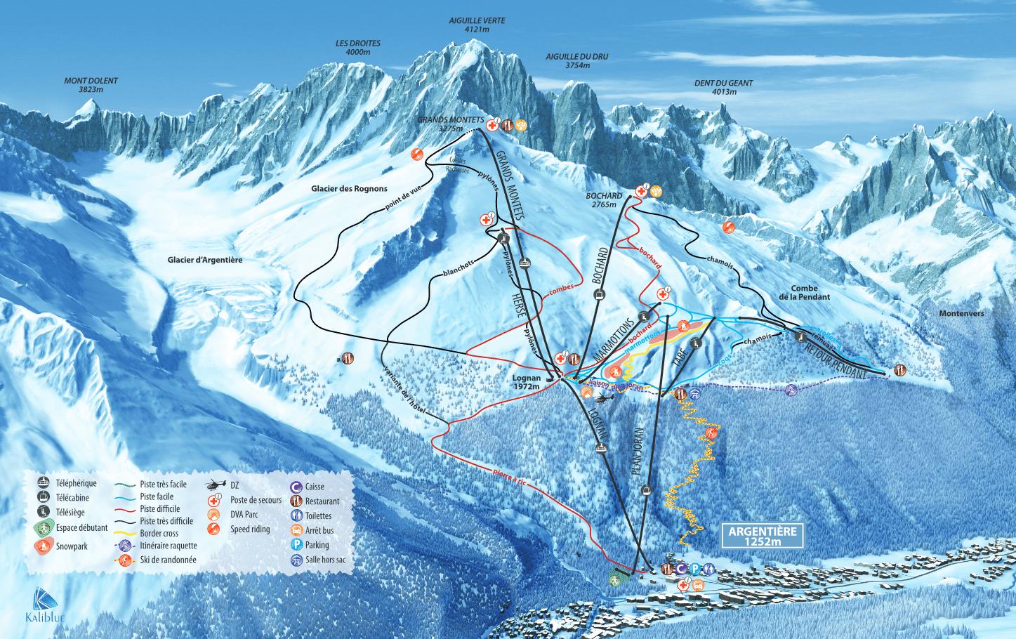plan des pistes argentieres