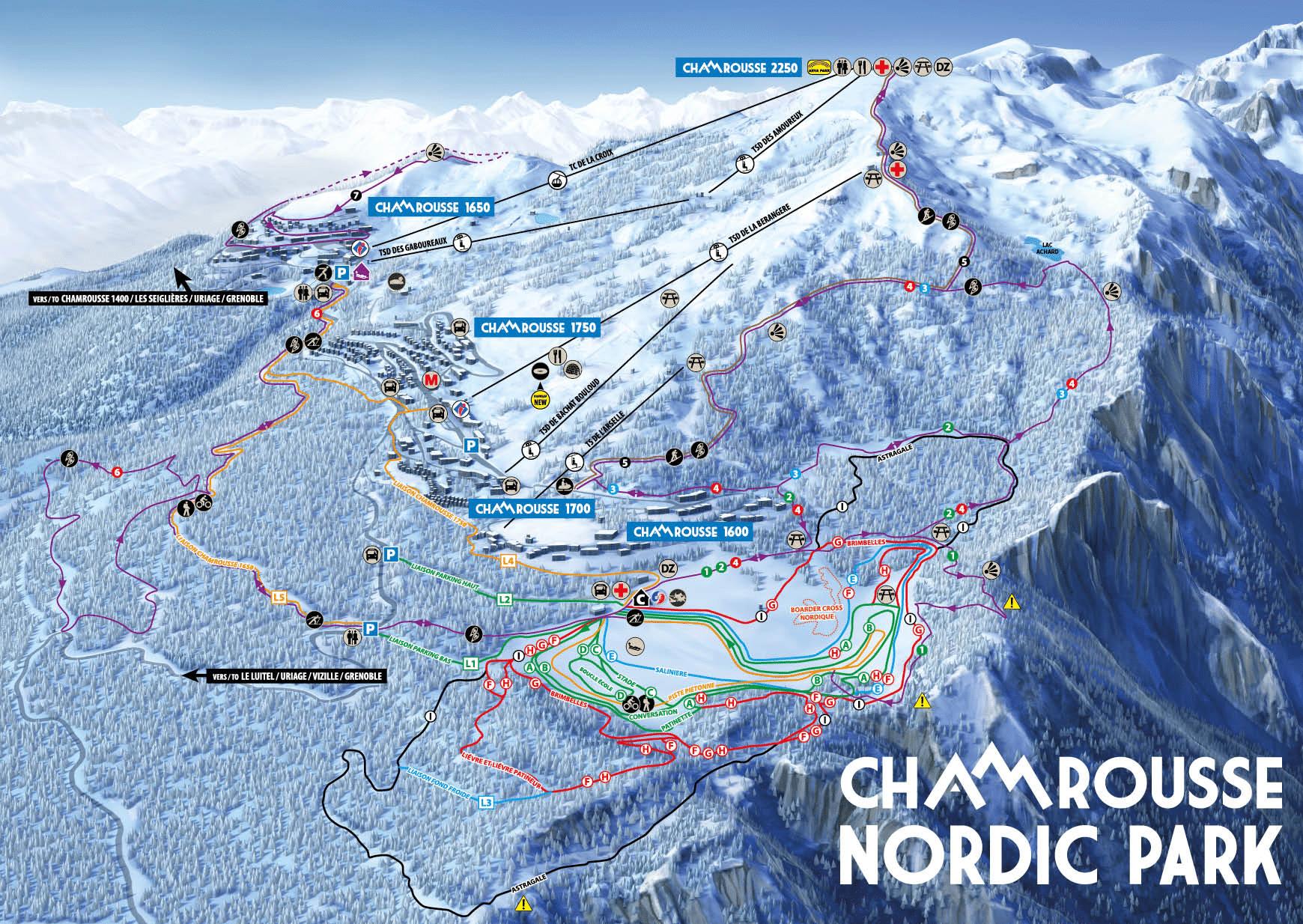 plan des pistes de ski de fond chamrousse