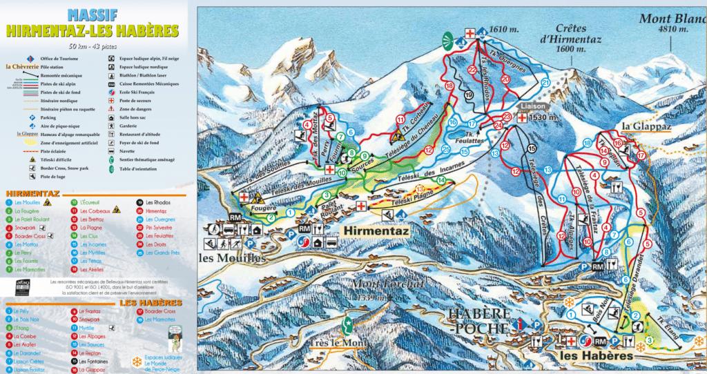 plan des pistes de ski hirmentaz les haberes