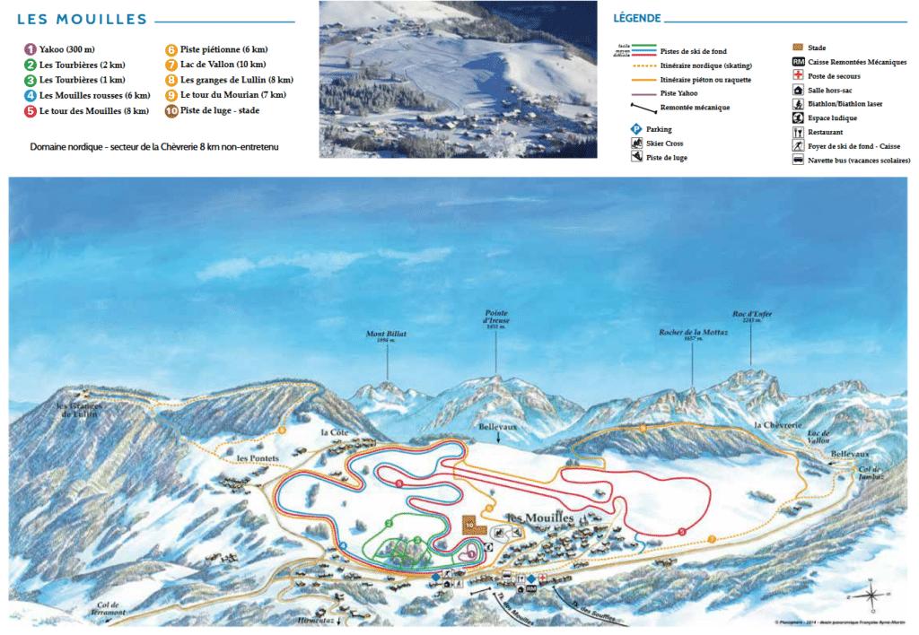plan des pistes ski de fond les mouilles