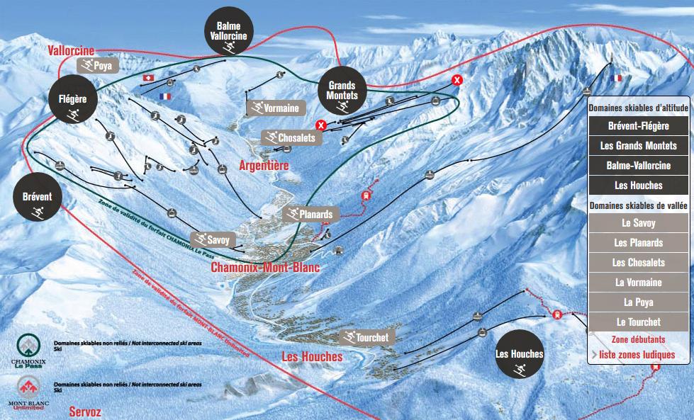 plan domaine skiable chamonix vallee