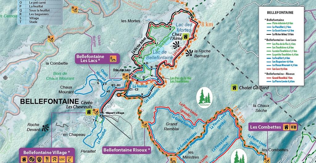 Plan des randonnées à raquettes sur Bellfontaine