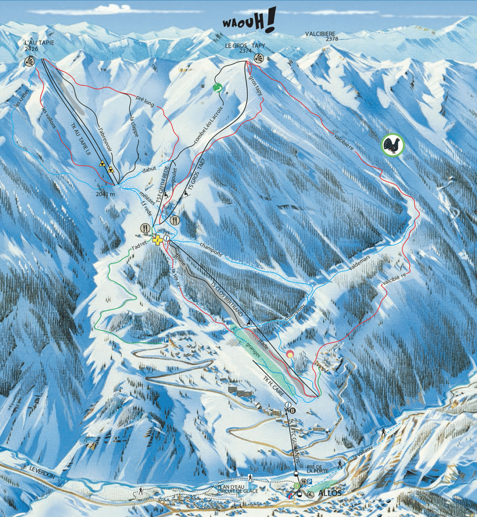 Allos - Plan des pistes de ski