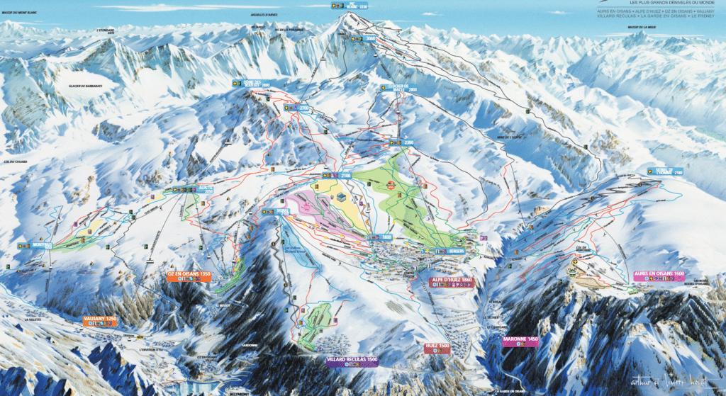 Alpe Huez - Plan des pistes de ski