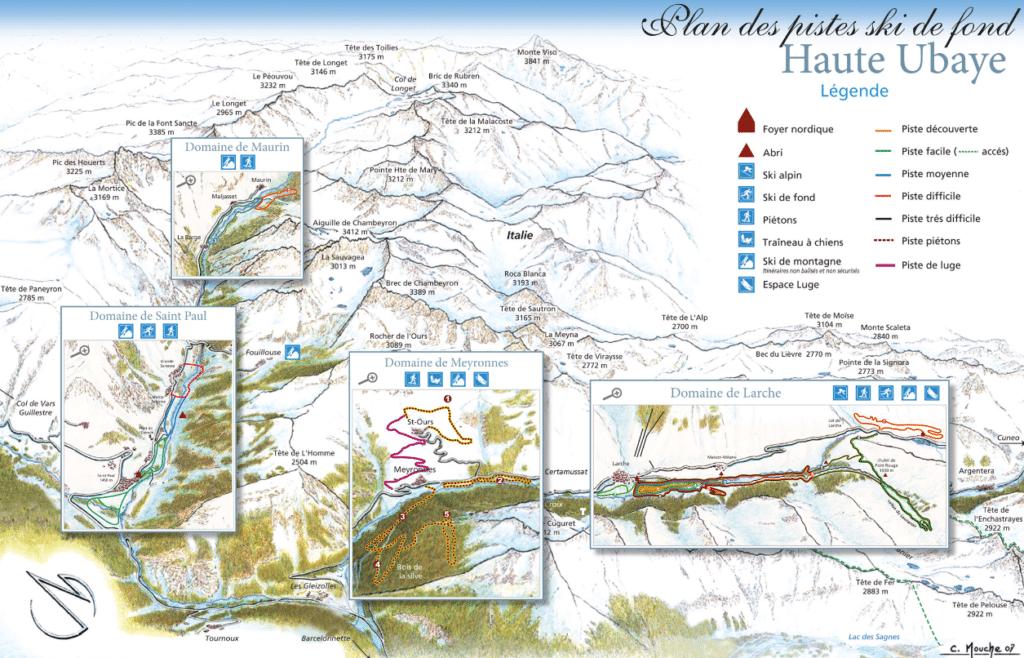 Haute Ubaye - Plan des domaines nordiques