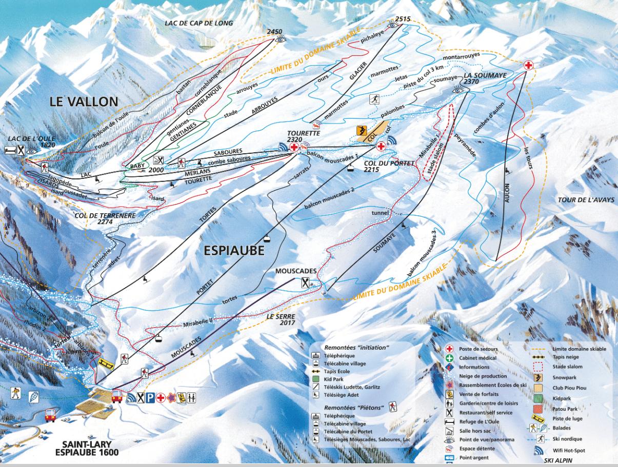 La Vallon - Espiaude - Plan des pistes de ski