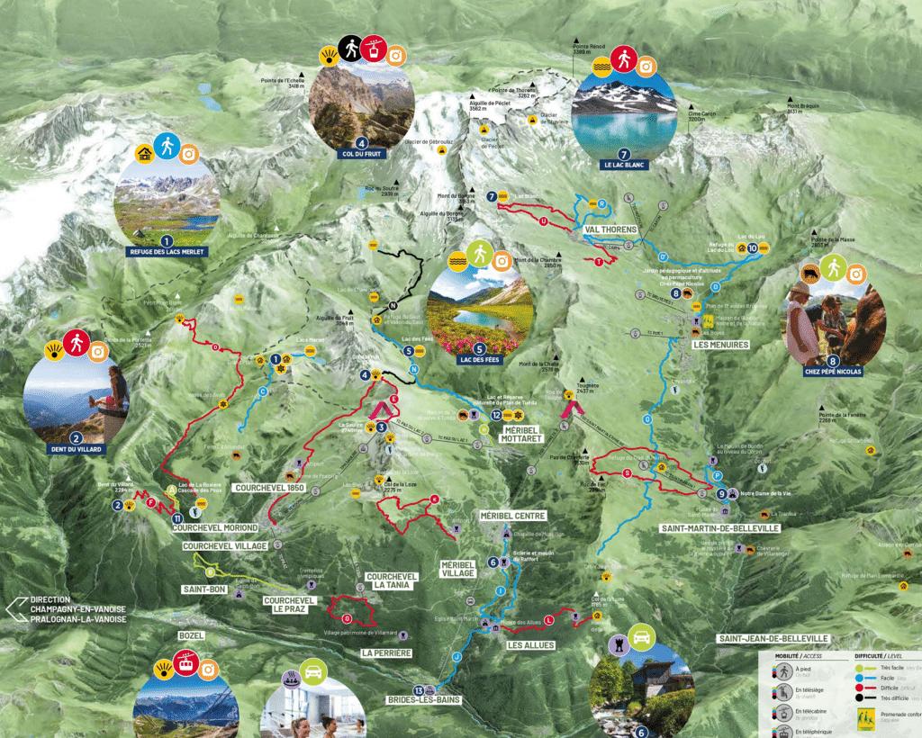Les 3 vallées - Plan des randonnées