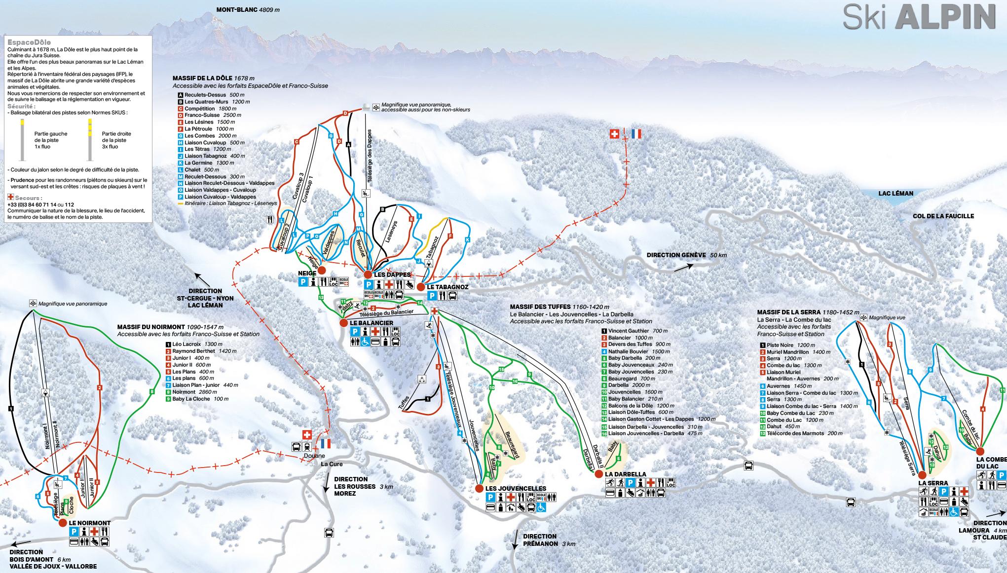 Les Rousses - Plan des pistes de ski