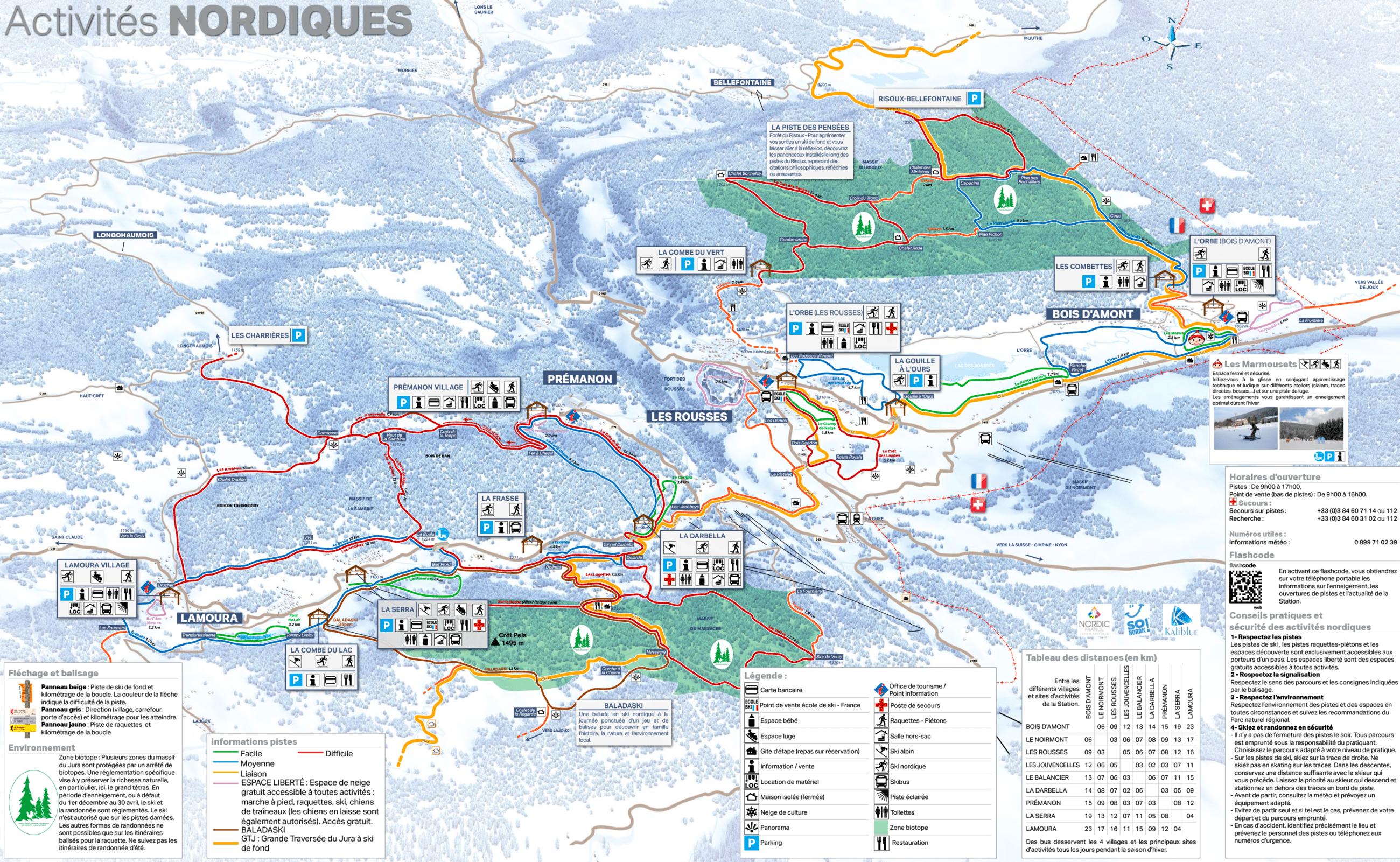 Les Rousses - Plan du domaine nordique