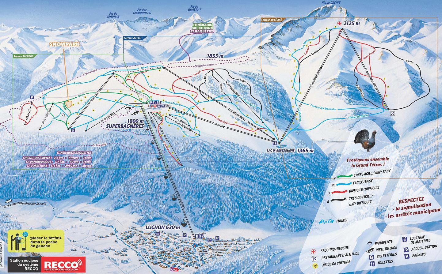 Luchon - Superbagnères - Plan des pistes de ski