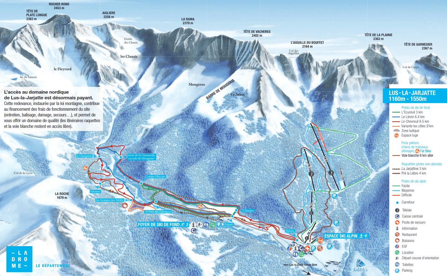 Lus La Jarjatte - Plan des pistes de ski