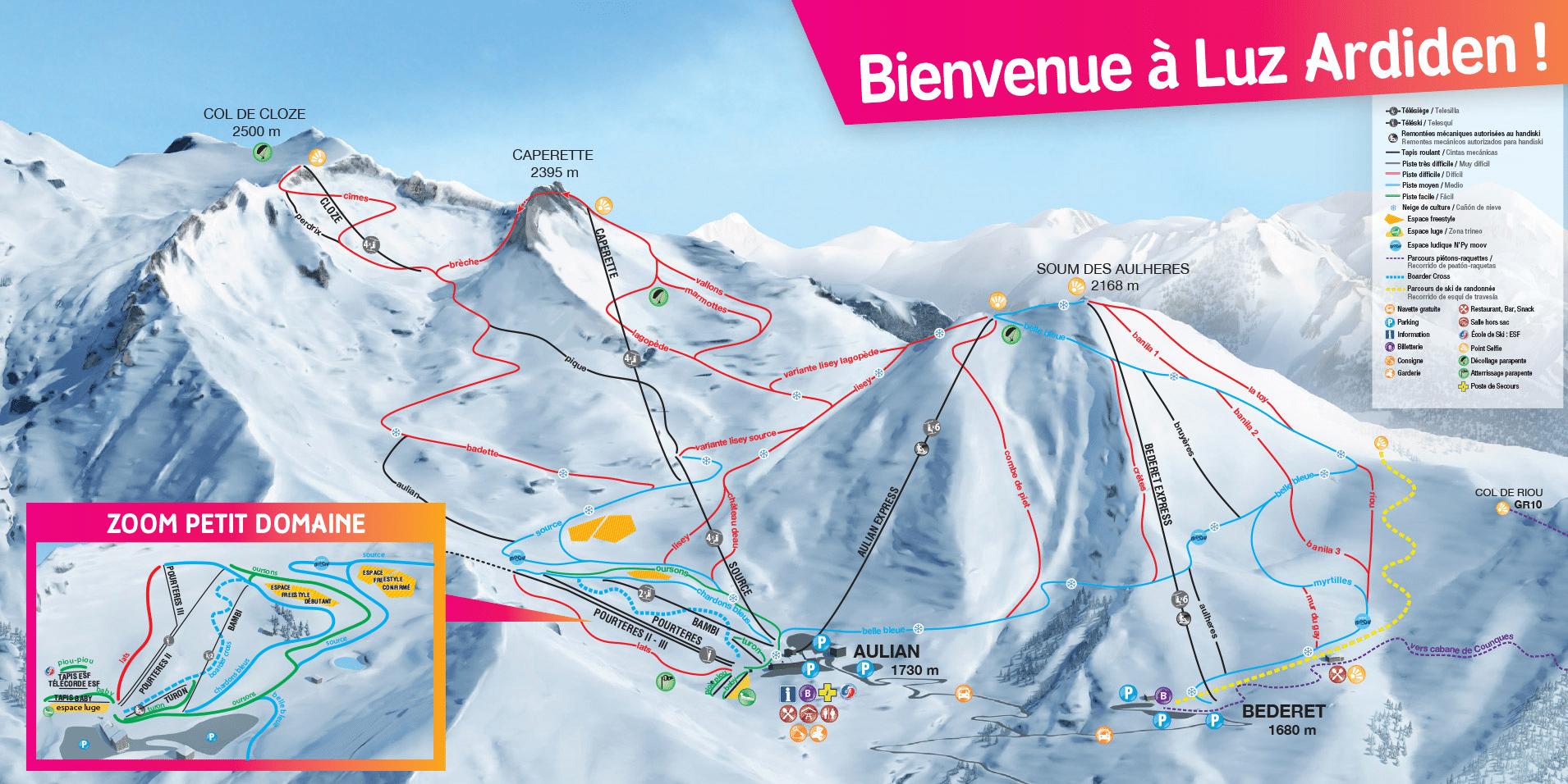 Luz Ardiden - Plan des pistes de ski