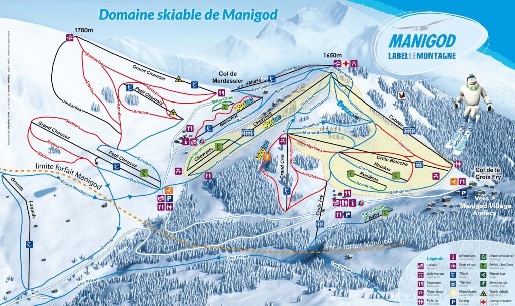 Manigod - Plan des pistes de ski