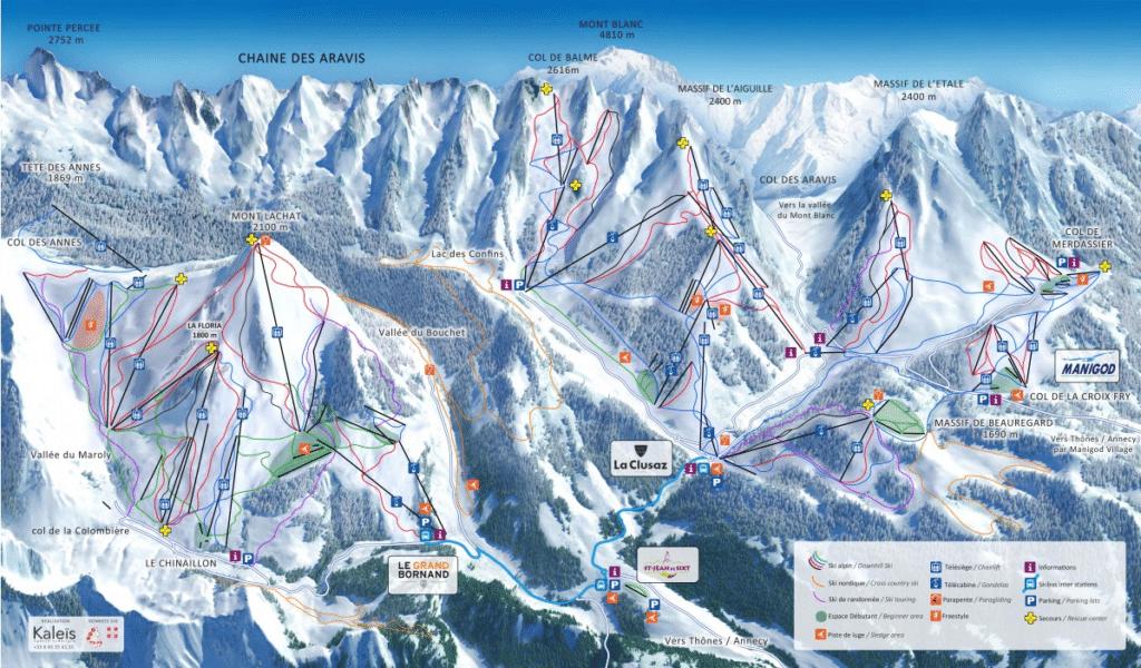 Massif des Aravis - Plan du domaine skiable