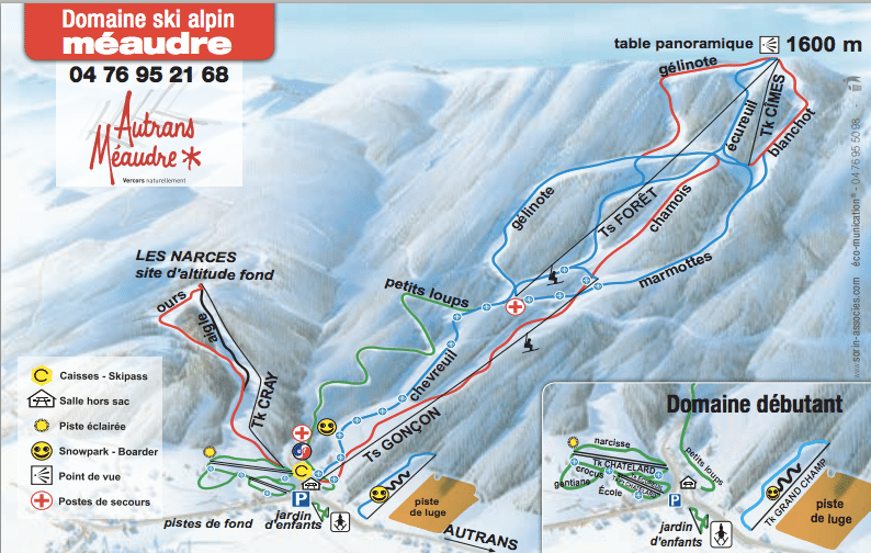 Meaudre - Plan des pistes de ski alpin