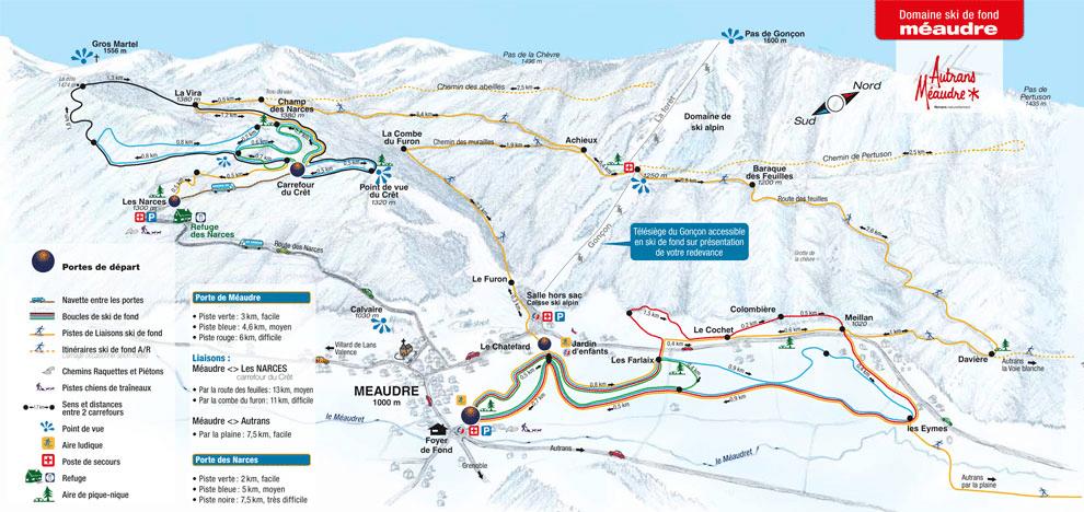 Meaudre - Plan des pistes de ski de fond