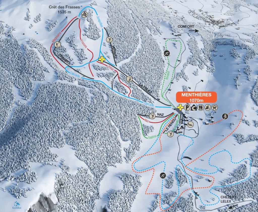 Menthières - Plan des pistes de ski