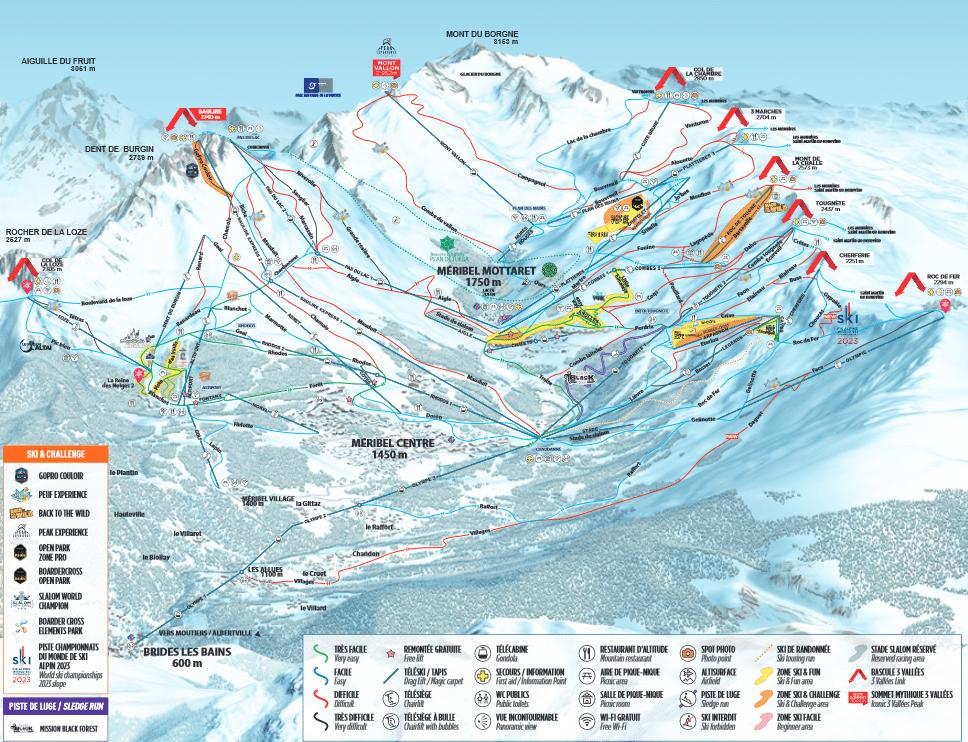 Meribel Mottaret - Plan des pistes de ski