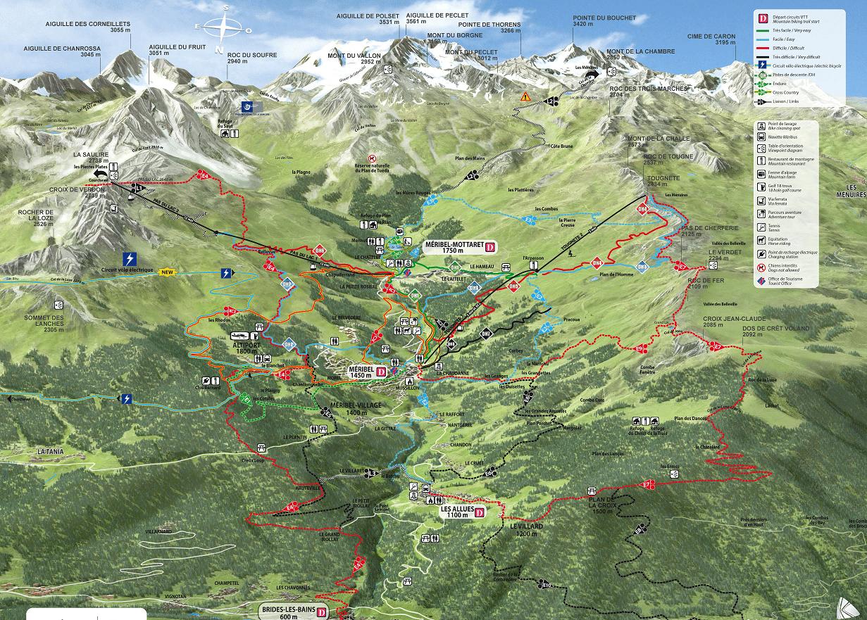 Meribel - Plan des pistes de VTT en été