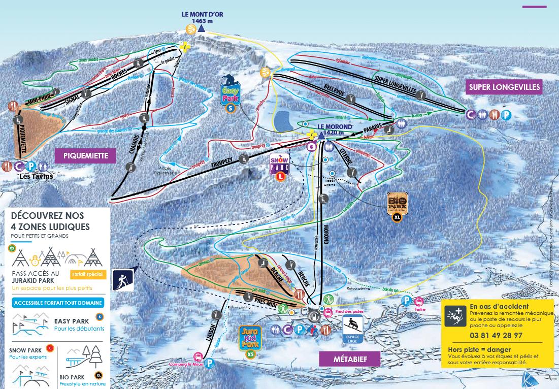 Metabief Mont d'Or - Plan des pistes de ski