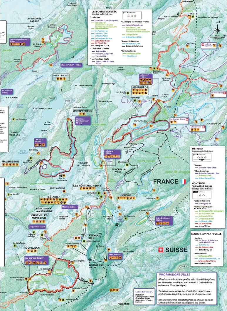 Metabief - Plan des pistes de ski de fond
