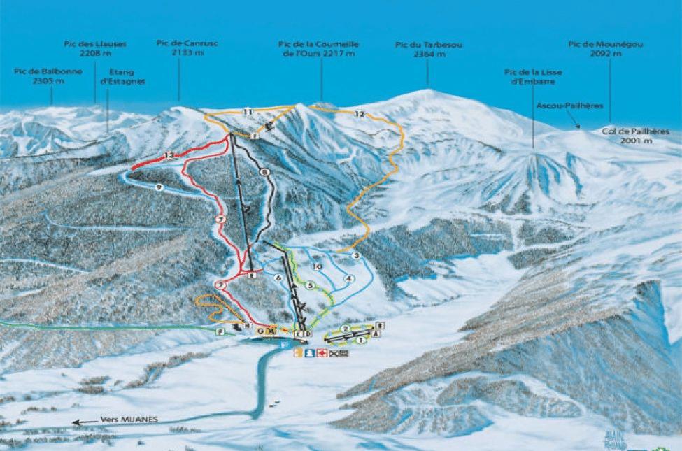 Mijanes & Donezan - Plan des pistes de ski