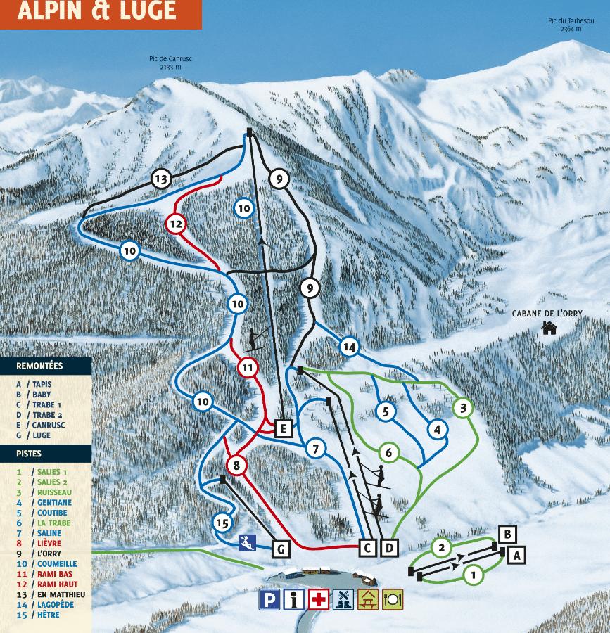 Mijanes - Plan des pistes de ski alpin