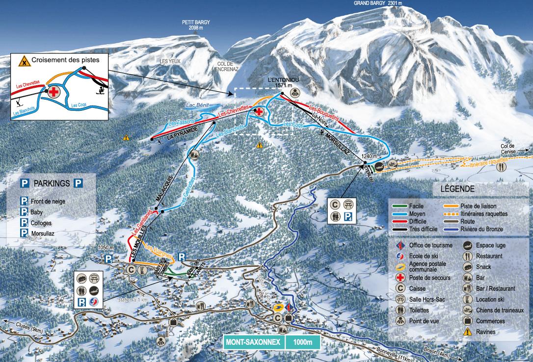 Mont Saxonnex - Plan des pistes de ski
